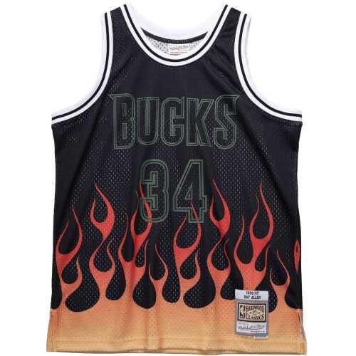 Men's Swingman Jersey Flames Ray Allen Milwaukee Bucks